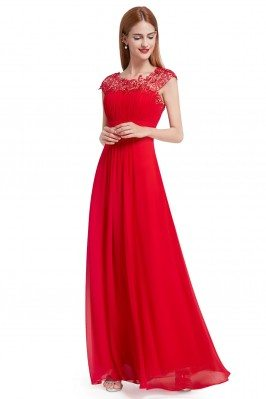 Red Lacey Neckline Open...