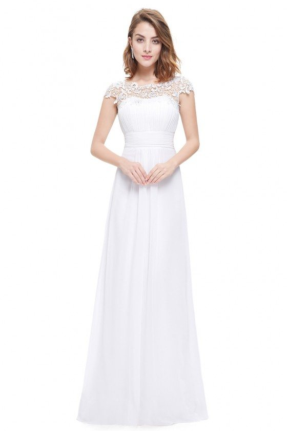 White Lacey Neckline Open Back Ruched Bust Prom Dress