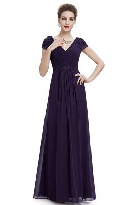 Purple V-neck Ruched Long...