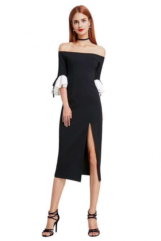 Sexy Black and White Off Shoulder Midi Little Black Dress