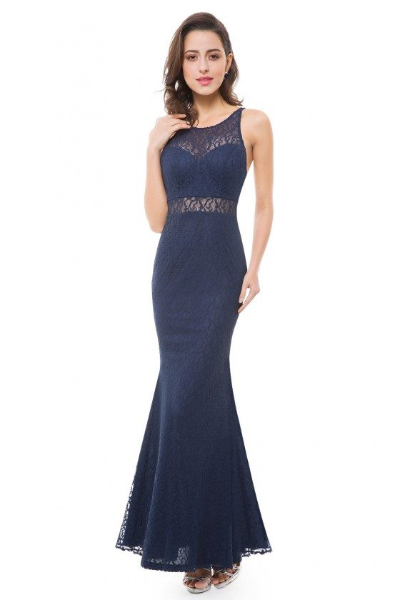 Women's Navy Blue Sleeveless Hollow Out Mermaid Long Evening Party Dress