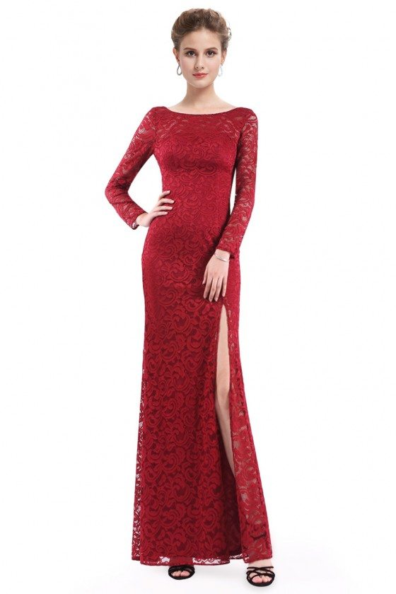 Women's Red Long Sleeve Lace Fitted Evening Party Dress