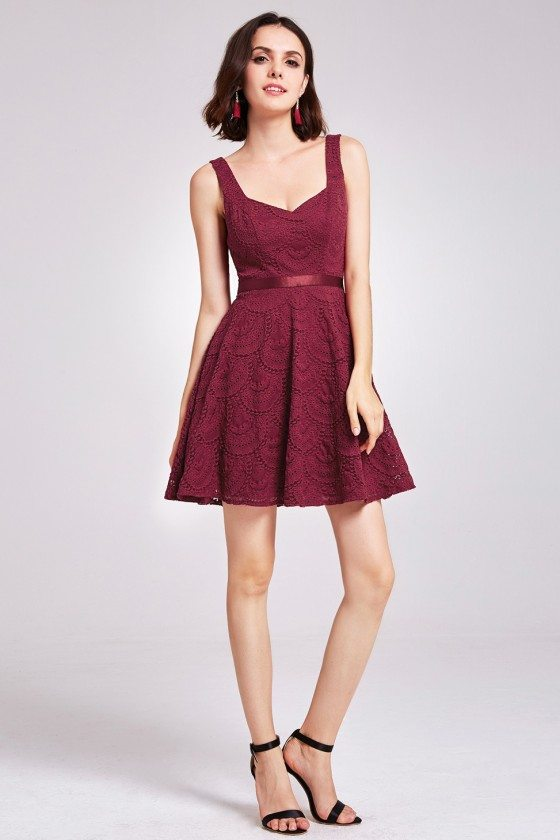 Burgundy Short Lace Fit and Flare Dress