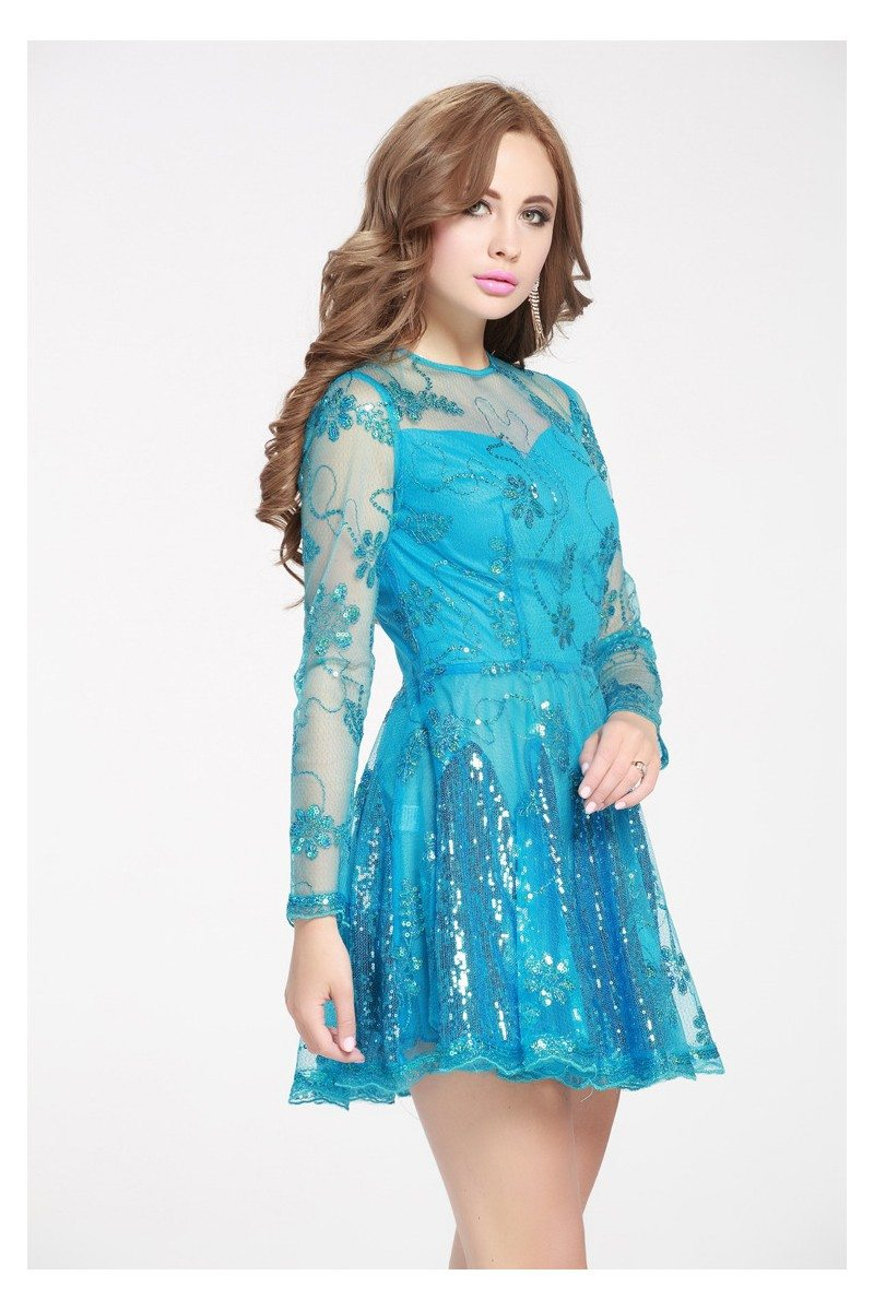 Blue Sequined Embroidery Fit And Flare Short Dress 57