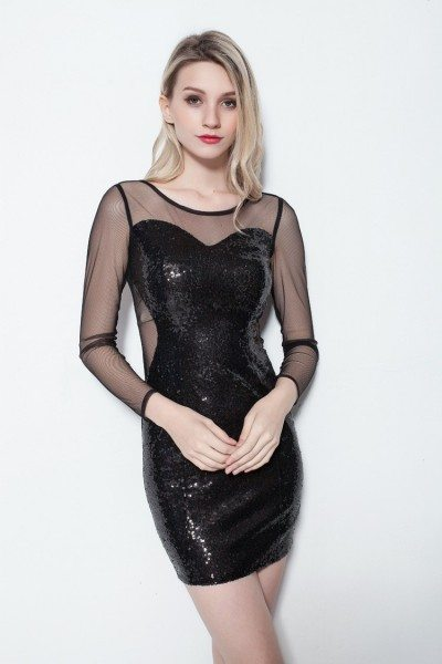 Little Black Sequins Sheer Sleeves Bodycon Dress