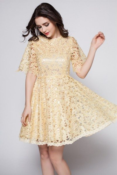 Yellow Lace Short Sleeve Party Dress