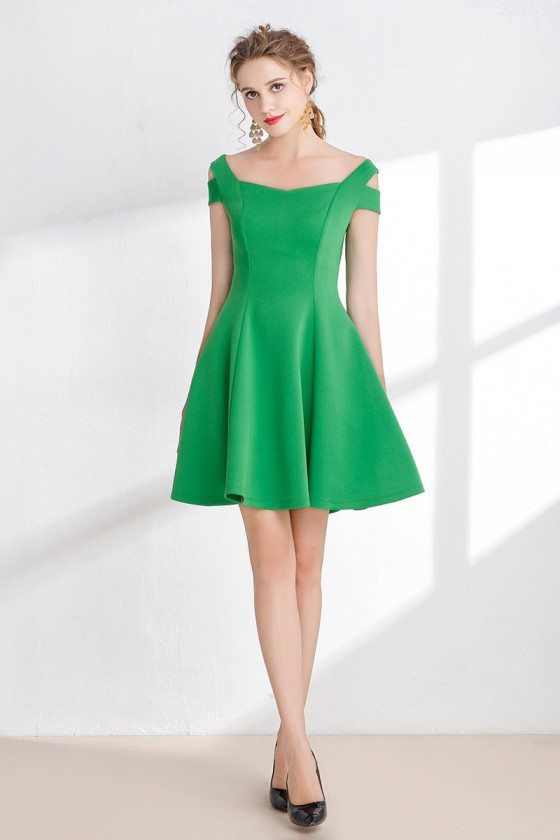 Simple Green Satin Party Dress for Girls