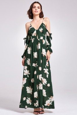 Cold Shoulder Green Printed...