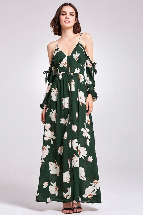 Cold Shoulder Green Printed Maxi Dress with Spaghatti Straps