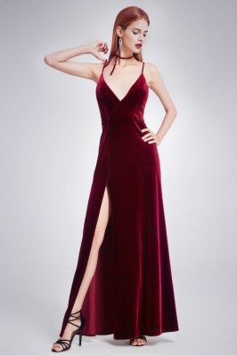 Burgundy Long Slit Front...
