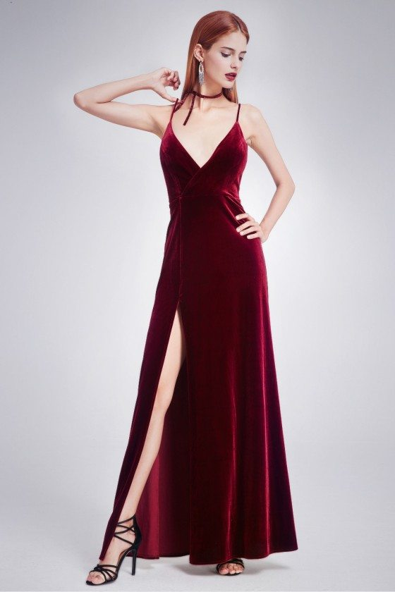 Burgundy Long Slit Front Velvet Evening Dress with V Neck