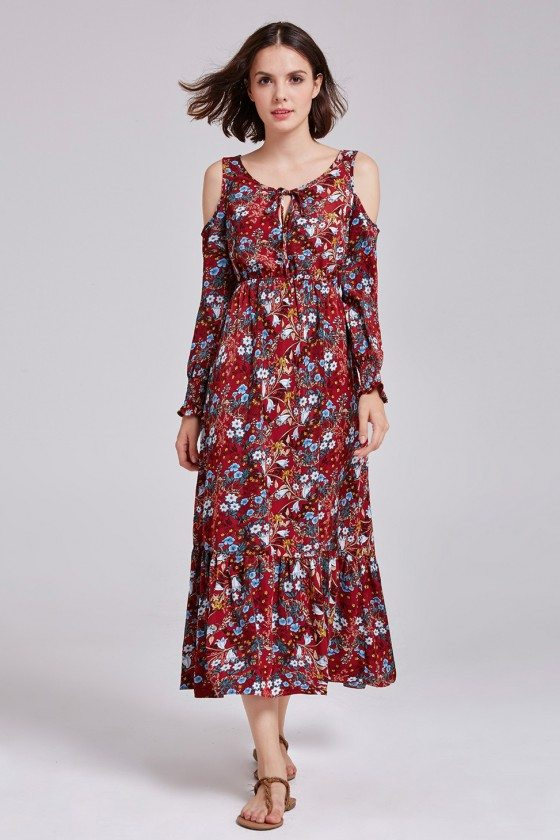 Vintage Printed Maxi Casual Dress with Off Shoulder Sleeves