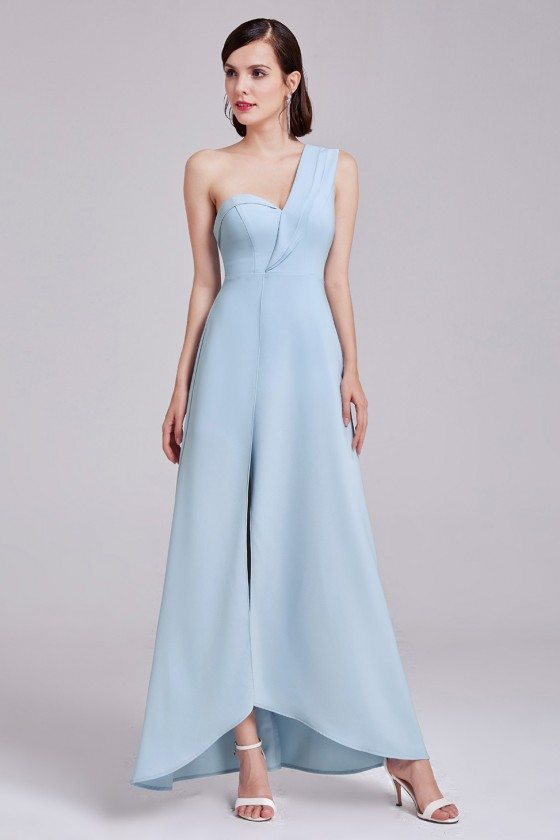 Light Blue One-Shoulder Elegant Long Formal Dress for Women