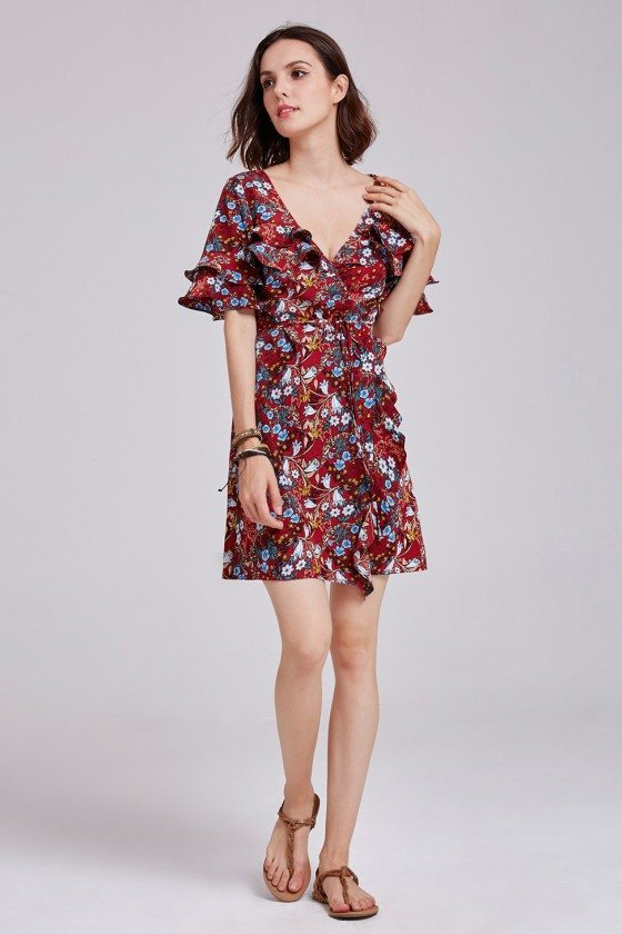 Vintage Floral Printed Sweetheart One-piece Ruffled Casual Dress