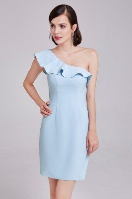 Blue Elegant One-Shoulder...