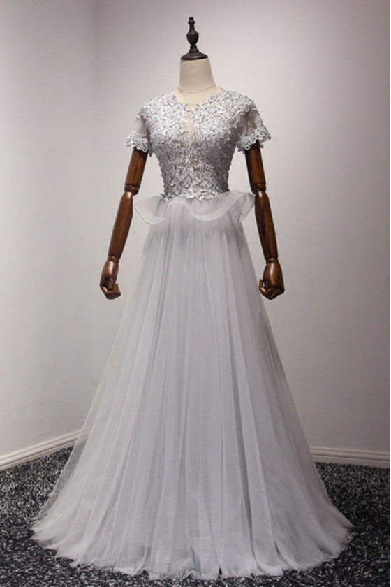 Modest Lace Grey Prom Dress Long With Short Sleeves