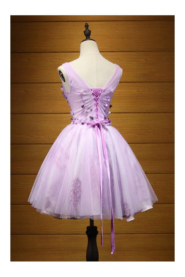 Cute Lilac Floral Homecoming Prom Dress Short With Straps