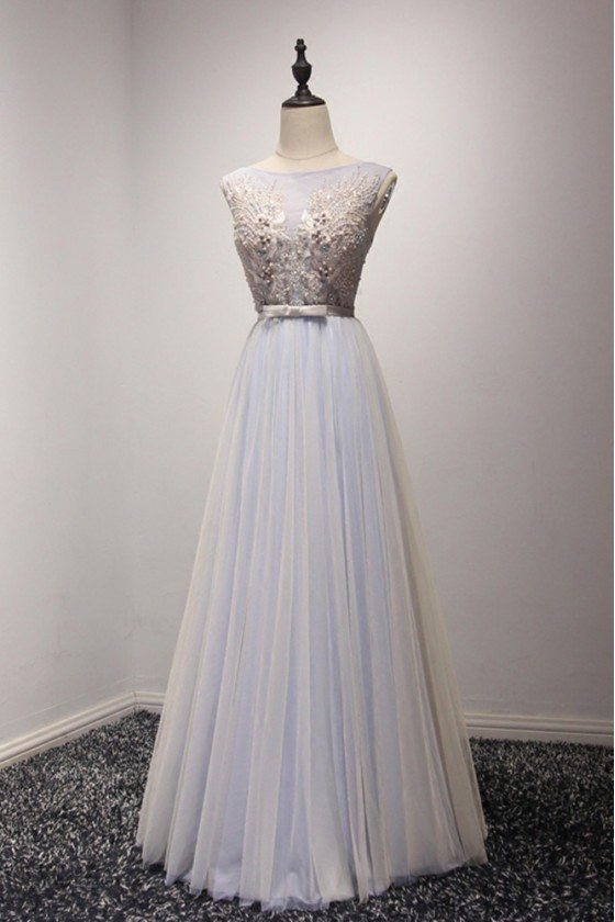 Gorgeous Backless Grey Formal Dress Long With Beading For Women