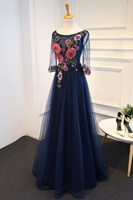 Uniuqe Navy Blue Long Tulle...