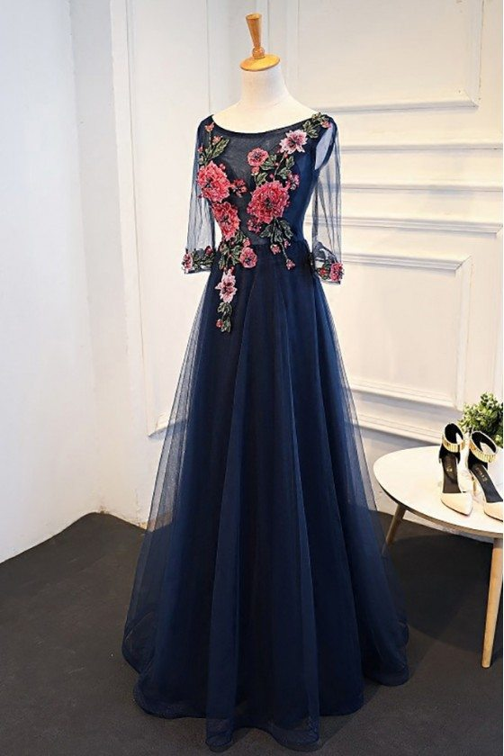 Uniuqe Navy Blue Long Tulle Prom Dress 3/4 Sleeves With Flowers