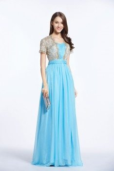 Blue Embroidery Long Party Dress With Sleeves