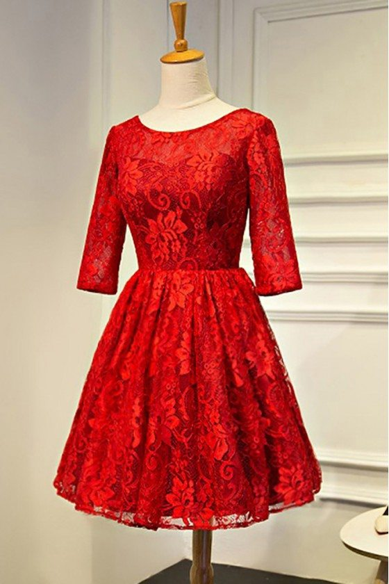 Red Lace Short Bridal Party Dress Round Neck With Sleeves