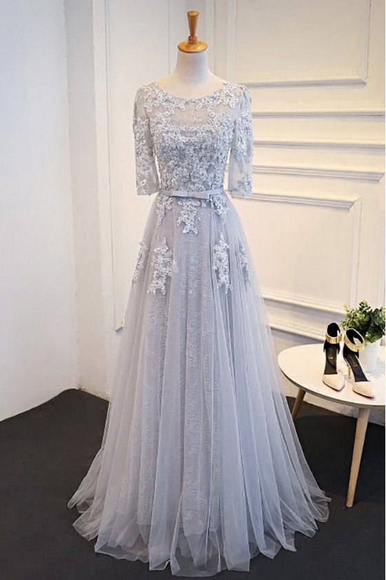 Elegant Satin Lace Half Sleeve Grey Prom Dress Long