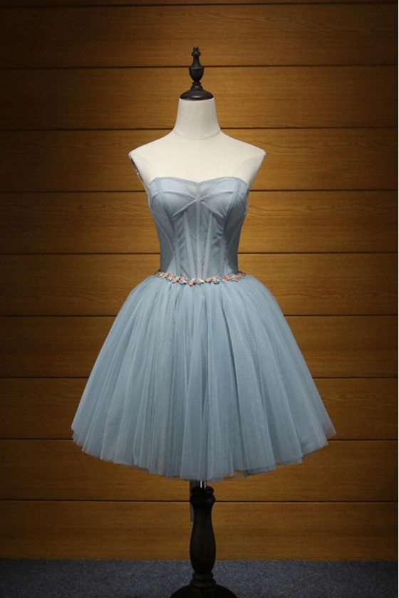Simpel Strapless Short Homecoming Dress With Beaded Waist