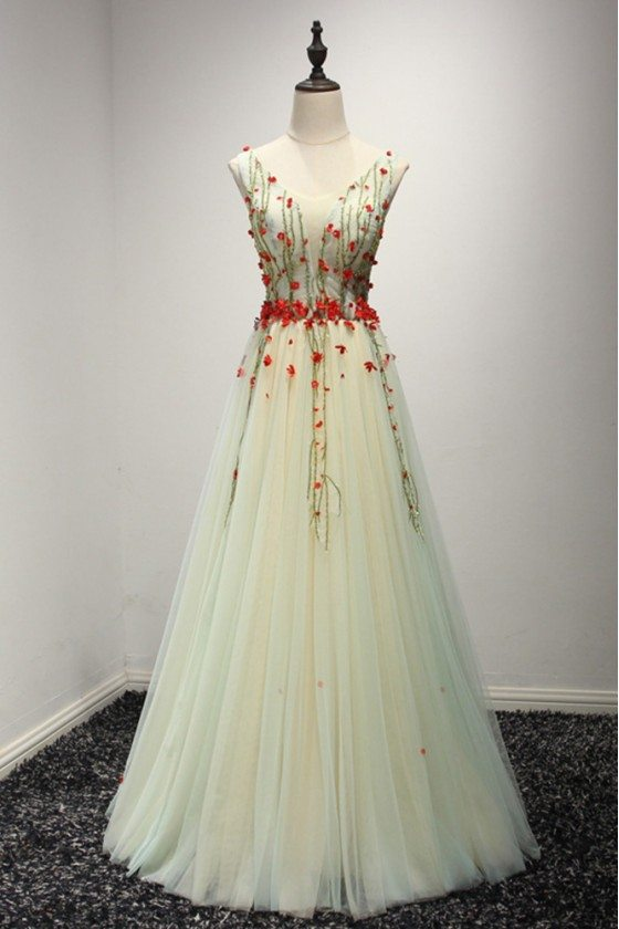 Different Long Yellow Prom Dress With Green Beading And Red Flowers