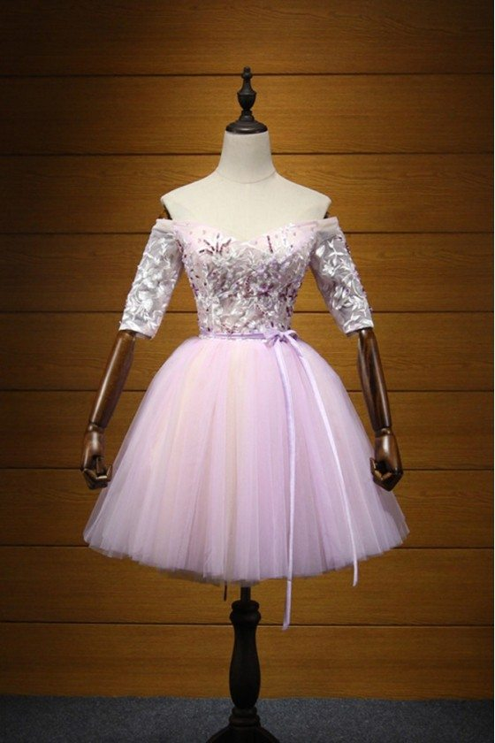 Vintage Off Shoulder Homecoming Dress Short Pink With Lace Beaded Sleeves