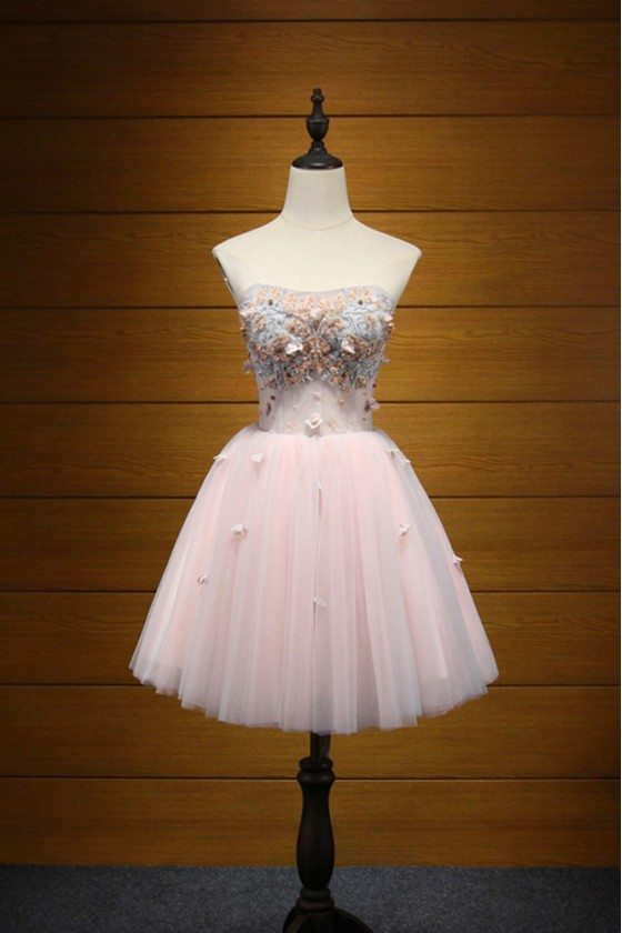 Strapless Short Pink Prom Dress For Homecoming With Lace Beading