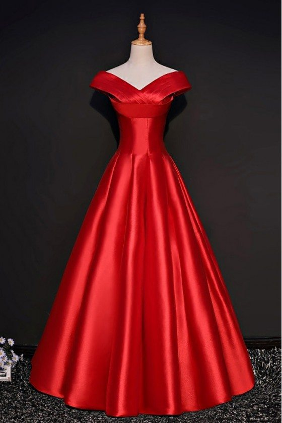 Simple Red Formal Satin Party Dress With Cap Sleeves