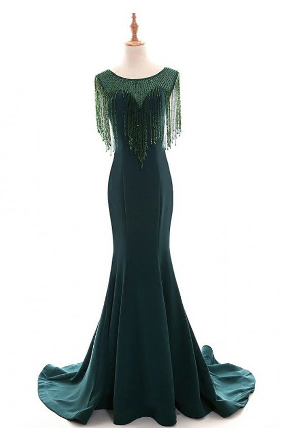 Classy Dark Green Long Mermaid Formal Evening Dress With Bling