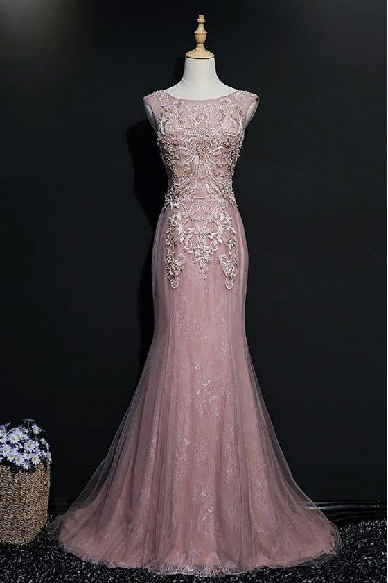 Sheath Pink Beaded Mermaid Long Prom Dress With Embroidery Sleeveless