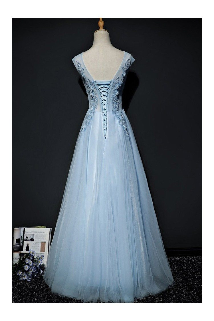 Sky Blue A Line Long Tulle Prom Dress With Lace Cap