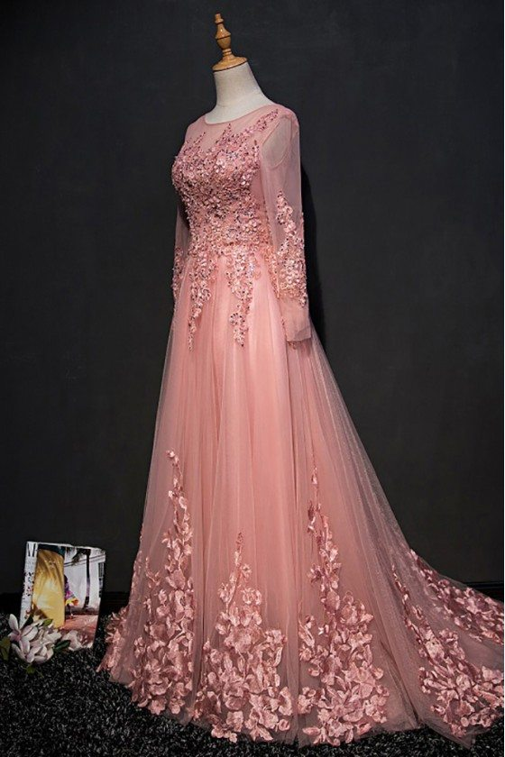 Beautiful Pink Long Sleeve Prom Dress With Lace Petals