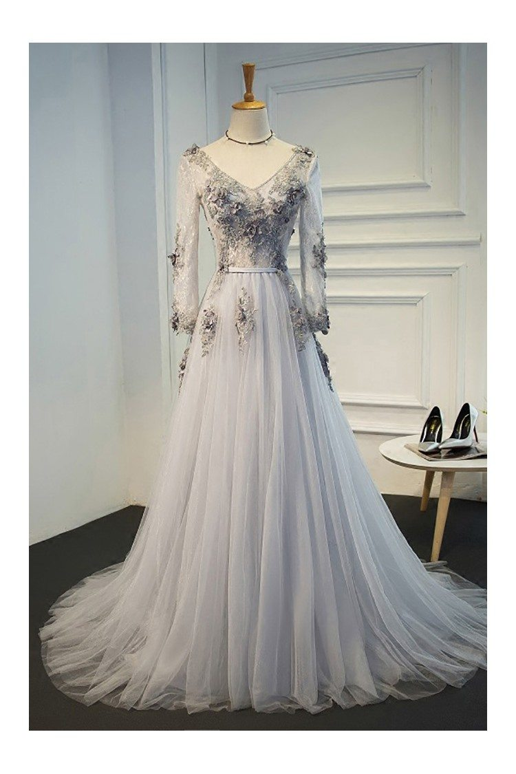 Elegant Grey A Line Formal Long Prom Dress With Long Tulle