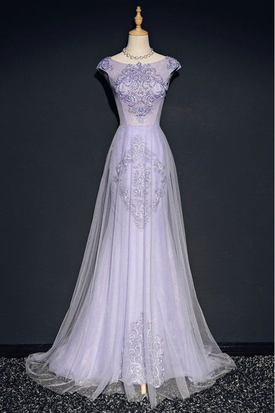 Elegant Lilac Long Tulle Mermaid Formal Dress With Cap Sleeves Embroidery