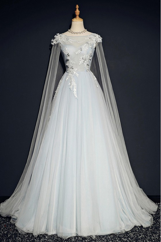 Elegant Light Grey Long Tulle Prom Party Dress With Train