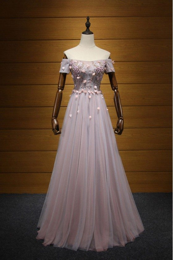 Unique Long Pink Homecoming Dress With Beading Off Shoulder Sleeves