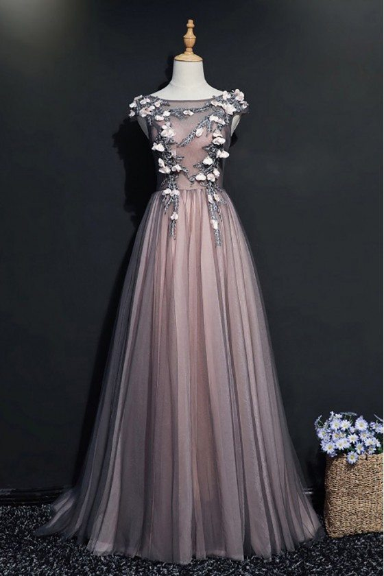 Different Black Tulle Long Prom Dress With Cap Sleeves Flowers