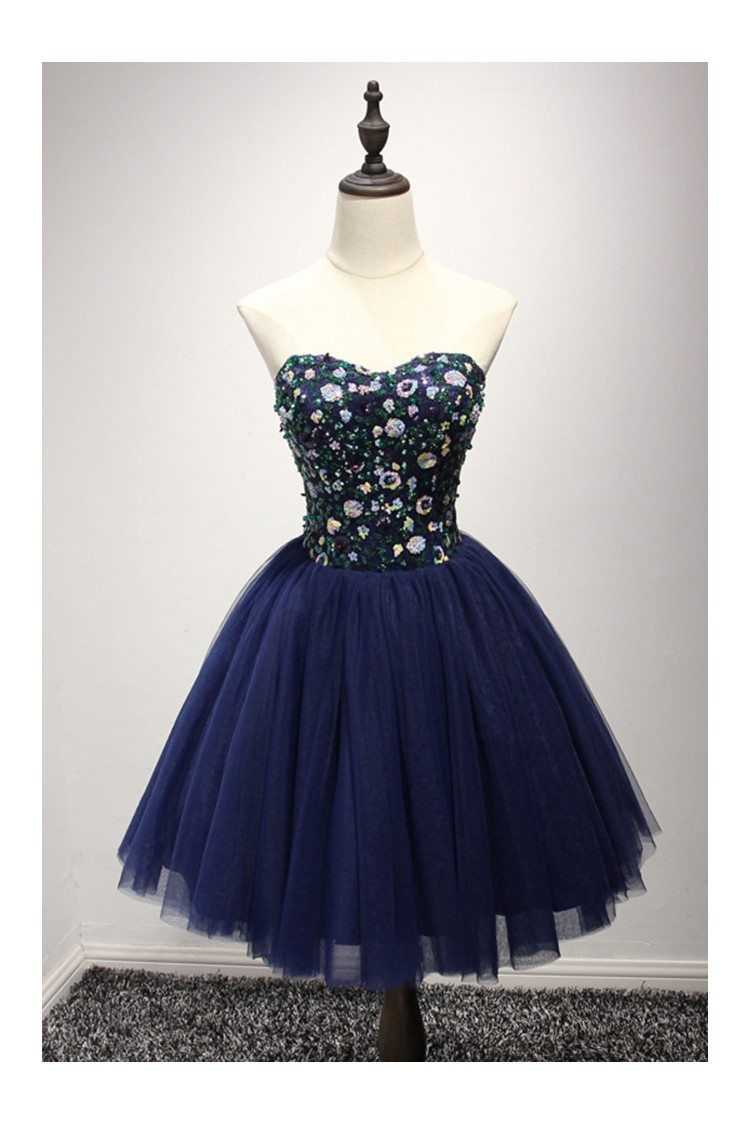 Dark Navy Blue Short Prom Dress With Sequin Bodice For