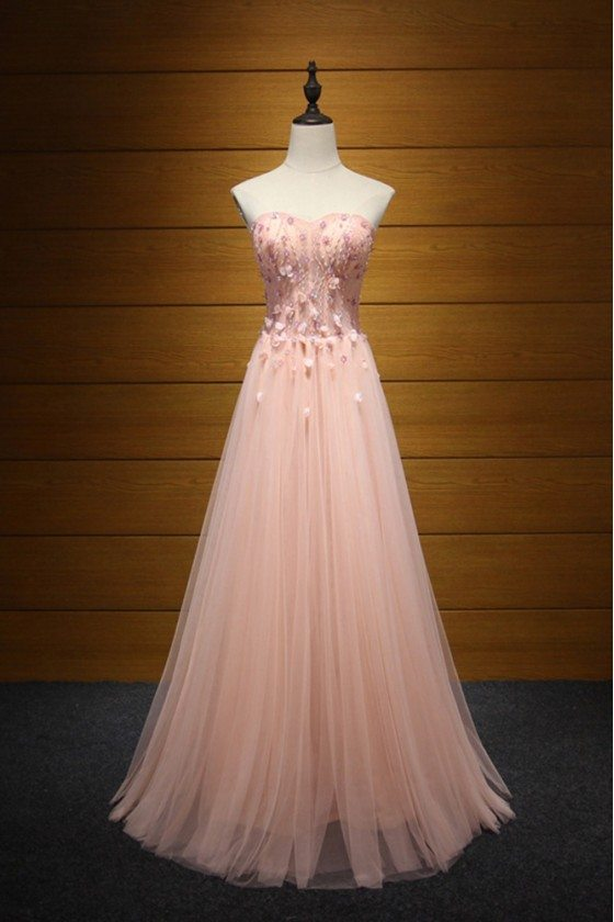 Fitted Peach Pink Long Formal Dress Tulle Beaded With Florals For Women