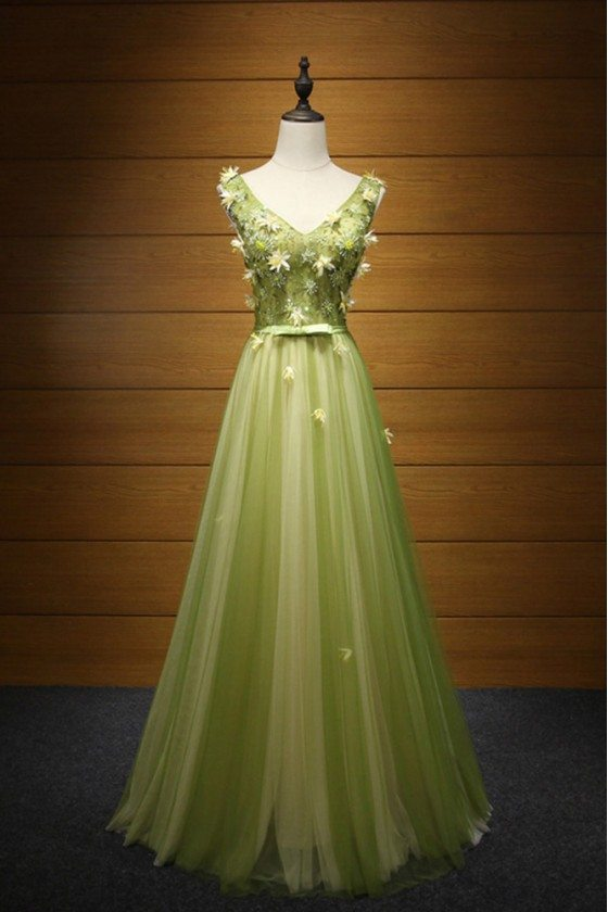 Elegant Yellow Green Formal Dress Long With Beading Florals