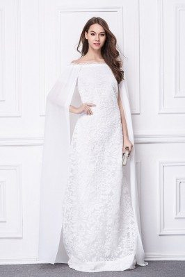 Long White Cape Style Embroidery Evening Dress