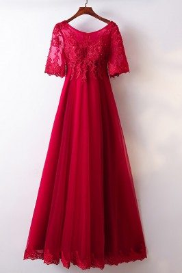 A Line Burgundy Lace Tulle...