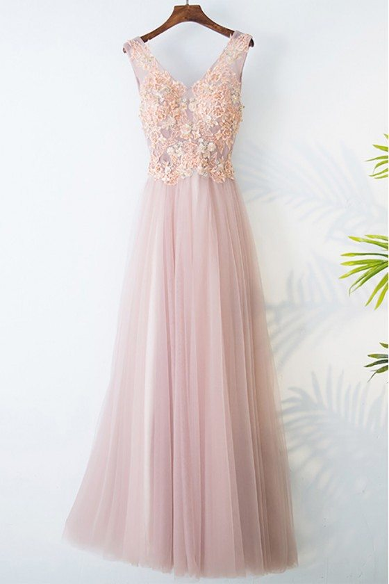 Gorgeous Pink Tulle Long Prom Dress Lace Sleeveless