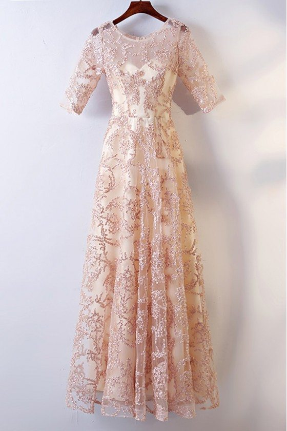Long Champagne Lace Formal Party Dress With Sleeves For Weddings