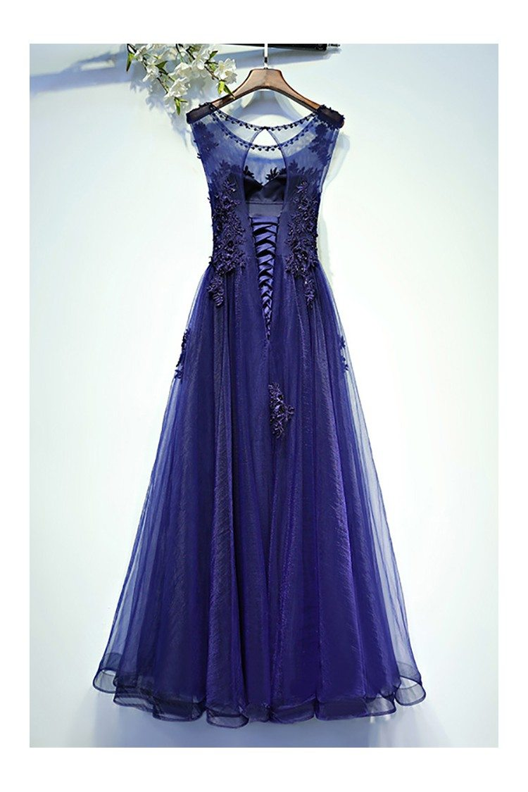 Navy Blue Lace Tulle Long Prom Dress A Line Sleeveless