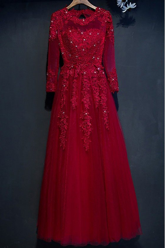 Modest Burgundy Long Sleeve Formal Party Dress With Lace For Weddings